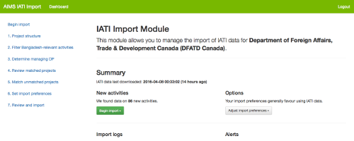 Canada's IATI Import Dashboard