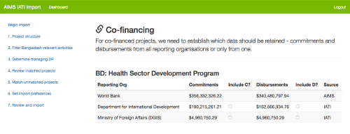 Merging DFID, Netherlands and World Bank financial data for a co-financed project, the Health Sector Development Programme